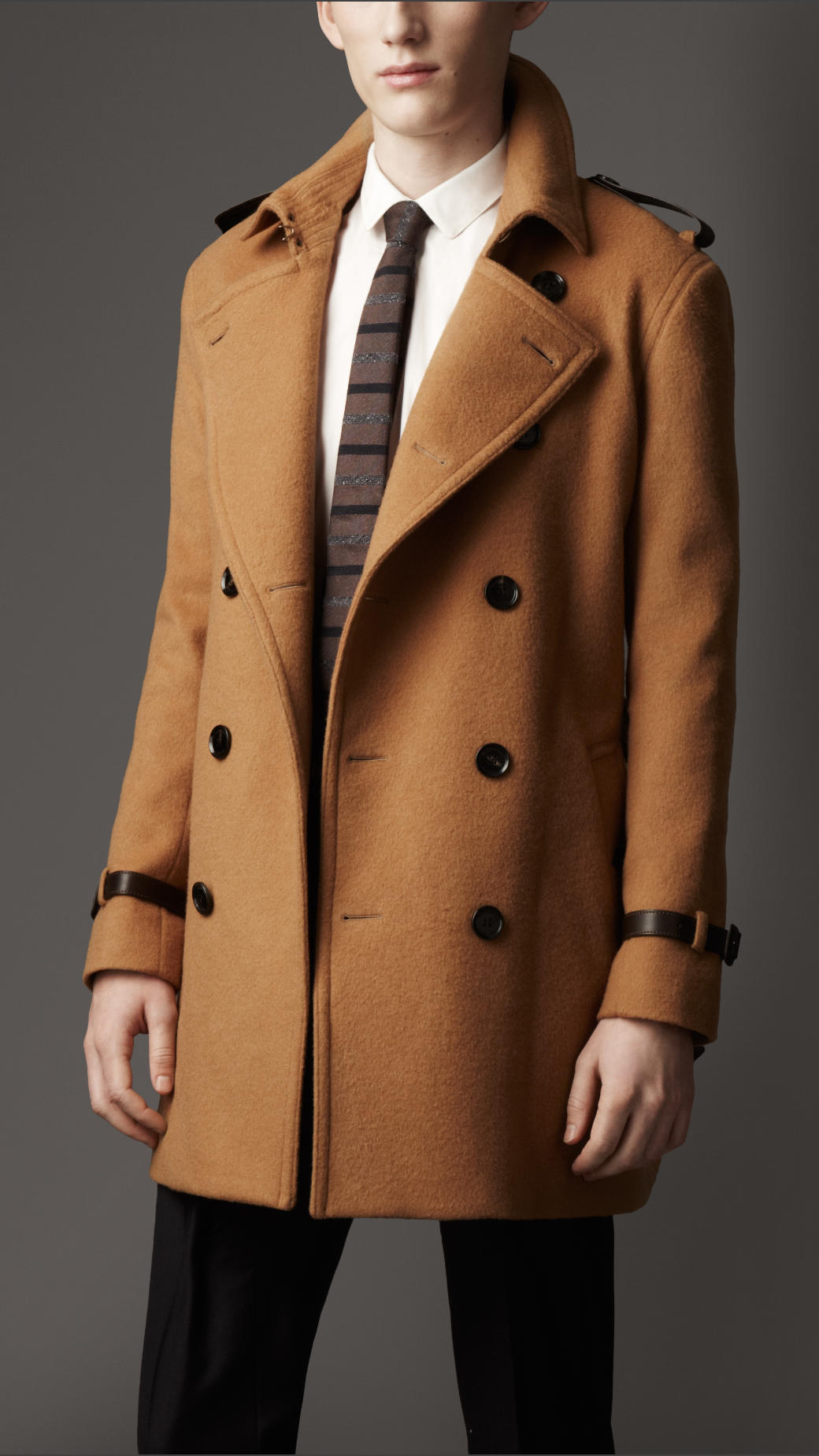 Burberry Midlength Wool Cashmere Trench Coat in Brown for Men | Lyst