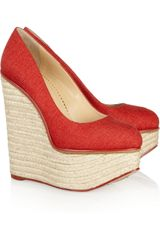 Charlotte Olympia Carmen Canvas Espadrille Wedge Pumps - Lyst