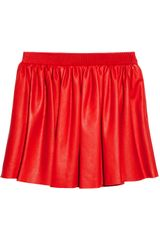 Miu Miu Pleated Leather Mini Skirt - Lyst