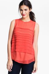 Vince Camuto Tiered Pleat Shell - Lyst