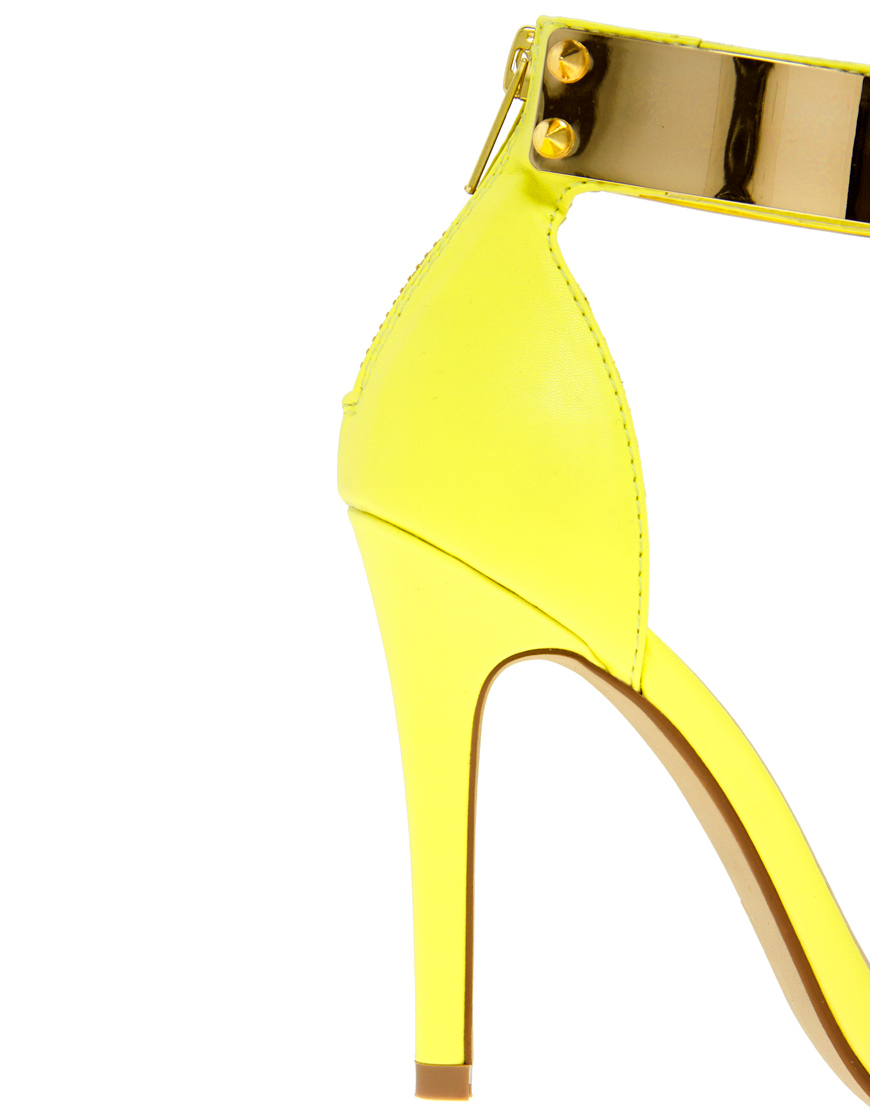 Yellow Strappy High Heel Sandals
