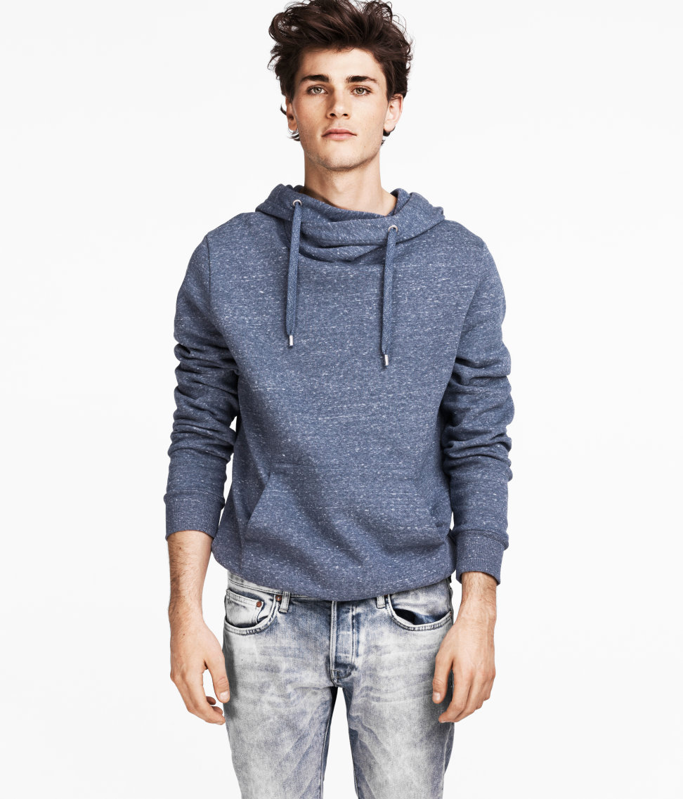lyst h m hooded sweater in blue for men