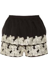 Floral Embroidered Chiffon Short
