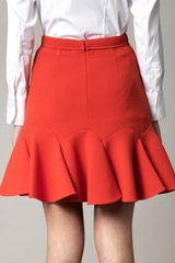 Carven Double Crepe Skirt in Pink (coral) - Lyst