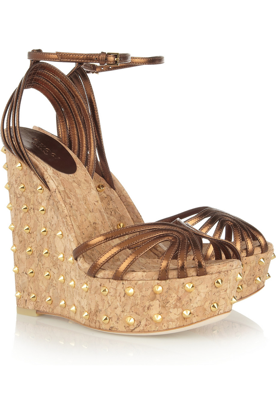 8b30c63465f31 Lyst - Gucci Studded Metallic Leather Platform Sandals in Metallic