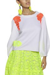 Maurizio Pecoraro Neon Lace On Cotton Fleece Sweatshirt - Lyst