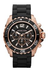 Michael Kors Black Silicone and Rose Golden Stainless Steel Everest Chronograph Watch - Lyst