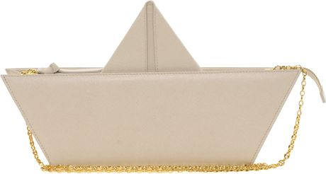 Moschino Cheap & Chic Leather Boat Trip Bag in Beige (cream) - Lyst