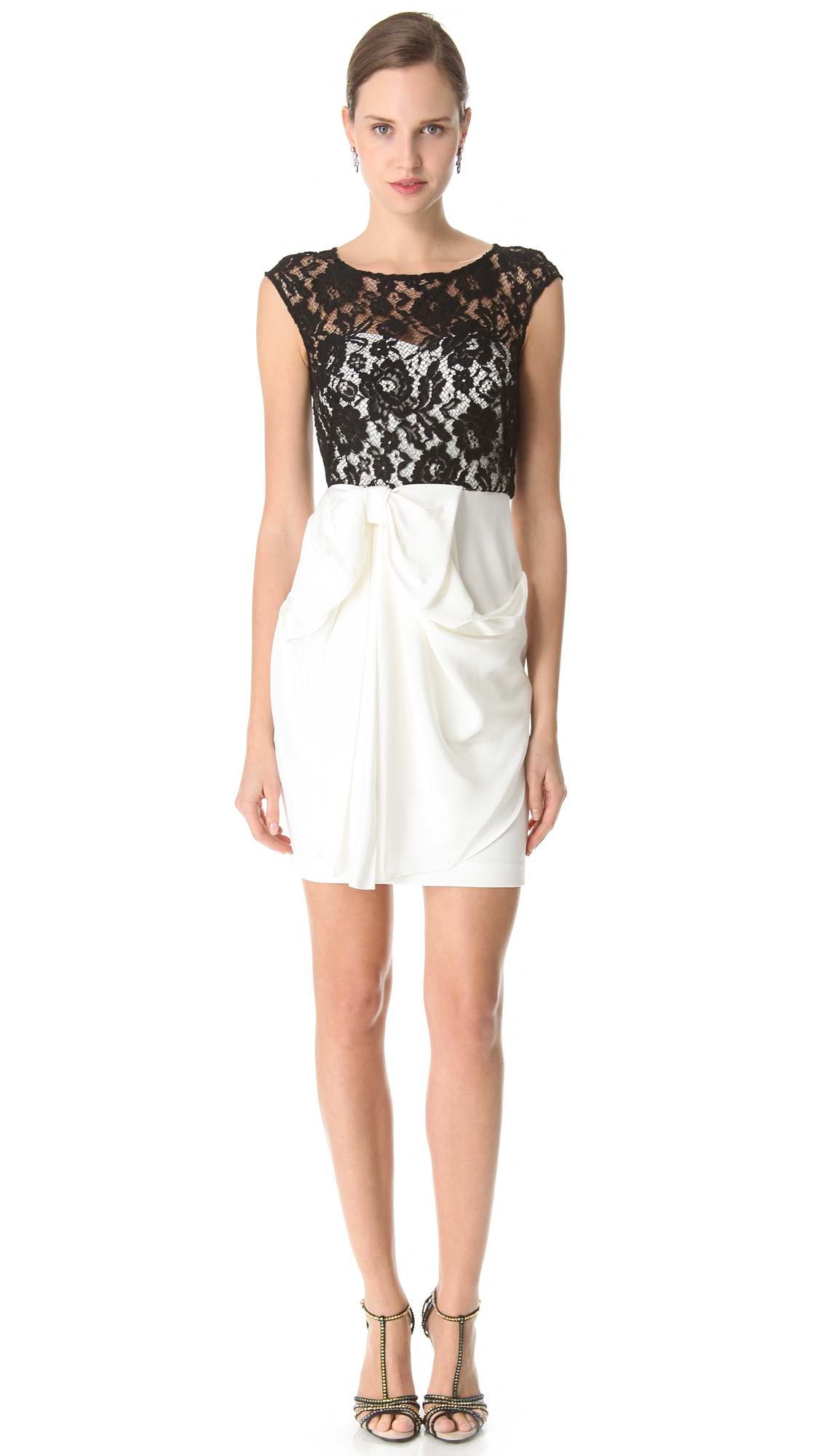 Lyst Notte By Marchesa Lace Bateau Cocktail Dress In White