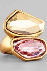 Oscar de la Renta Abstract Faceted Crystal Ring - Lyst