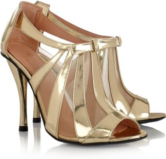 Robert Clergerie Querrye Metallic Leather and Mesh Sandals - Lyst