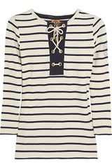 Tory Burch Laure Henley Striped Cotton Top - Lyst