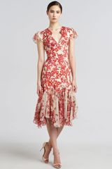 Zac Posen Hibiscusprint Flared Dress - Lyst