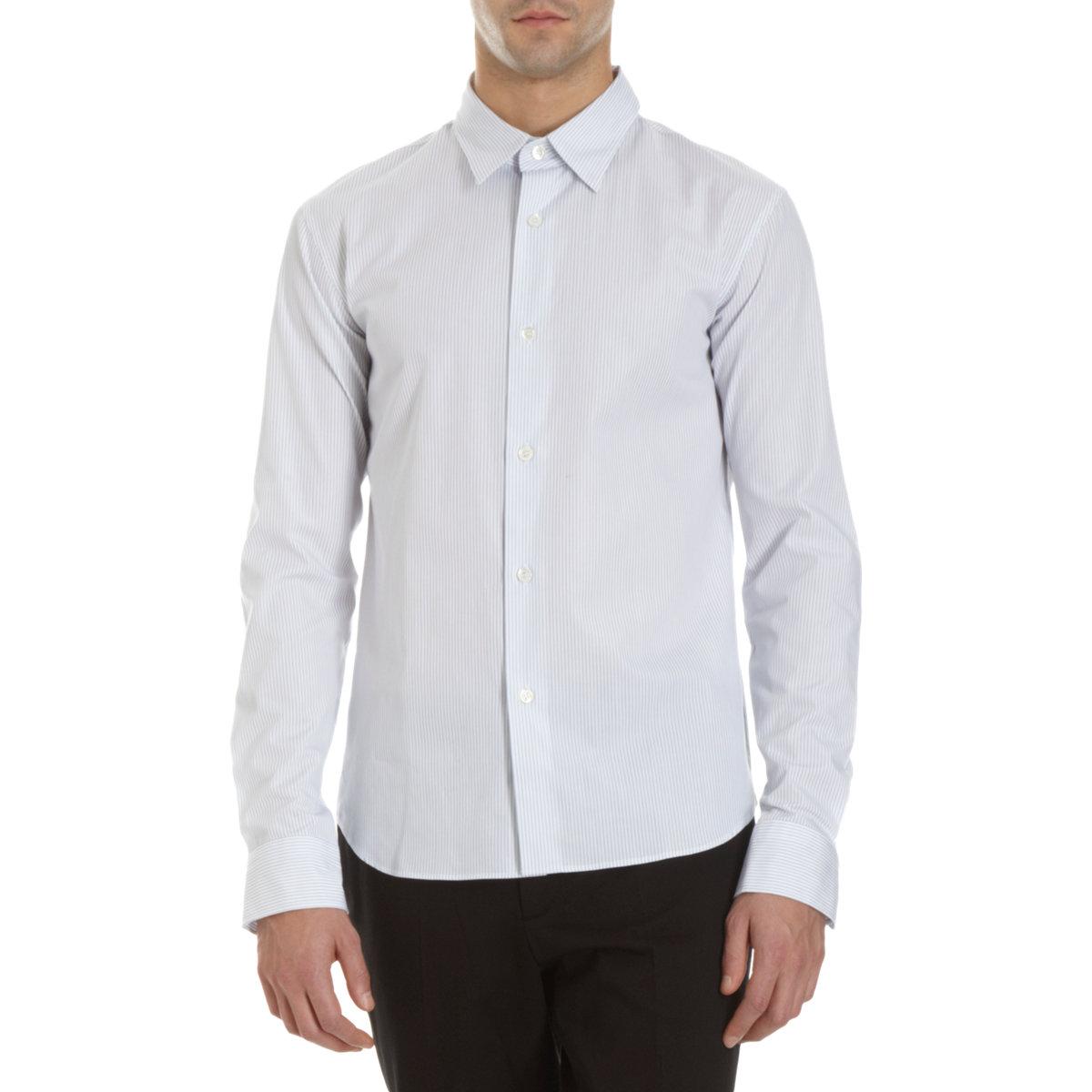 Agnes b vertical stripe dress shirt in white for men lyst for Vertical striped dress shirt