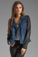 Blanknyc Denim Moto Jacket with Vegan Leather Sleeves - Lyst