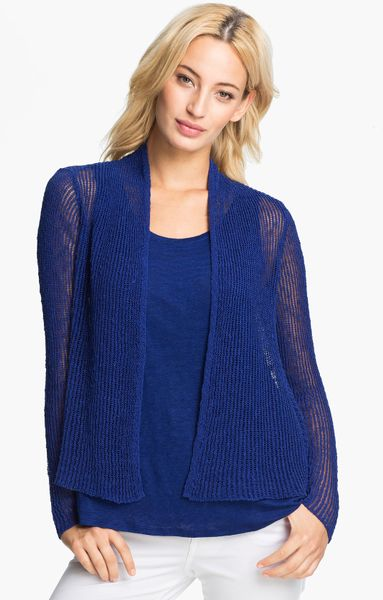 eileen fisher open front knit cardigan in persian blue