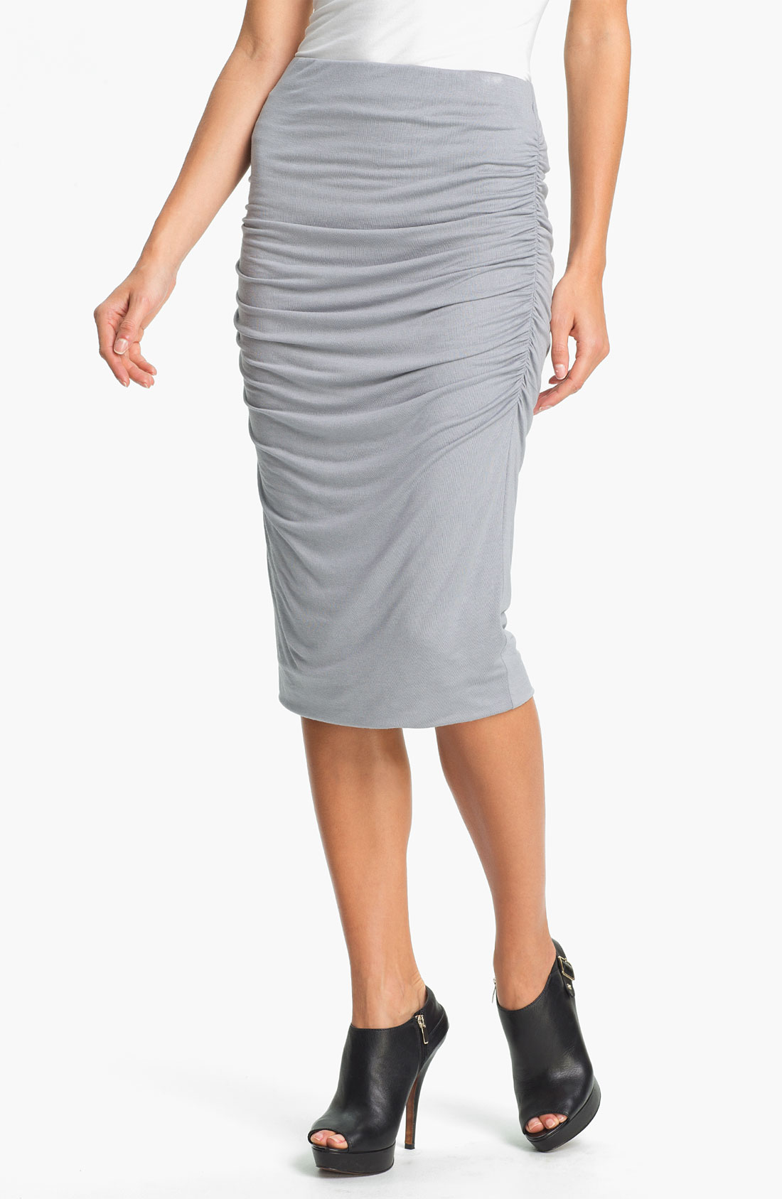moon ruched midi skirt in gray grey lyst