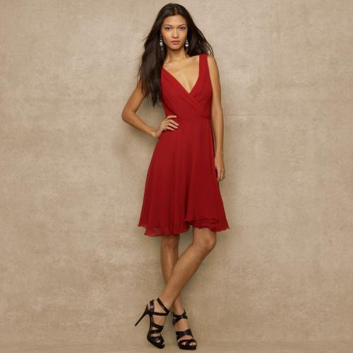 Lyst Ralph Lauren Blue Label Crinkled Silk Chiffon Dress