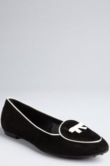 Tod's Black and White Suede Loafer Style Bow Flats - Lyst