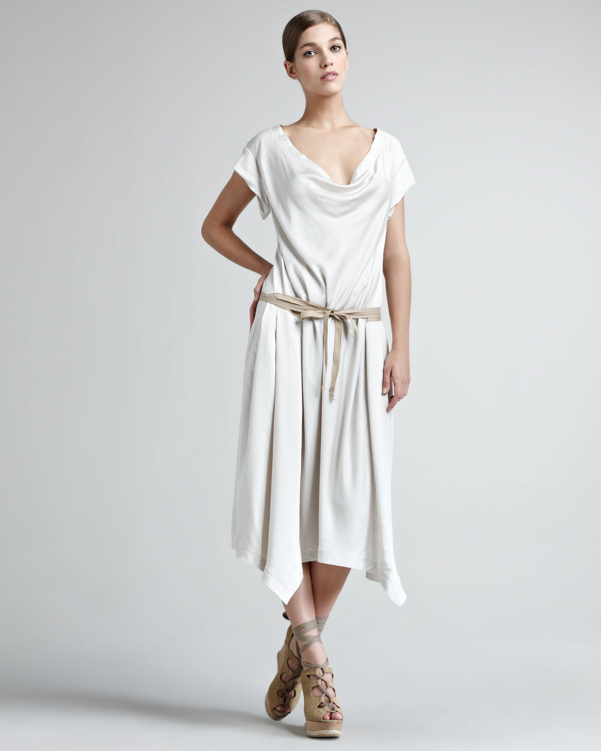 Donna karan Sport Satin Draped Dress in White | Lyst