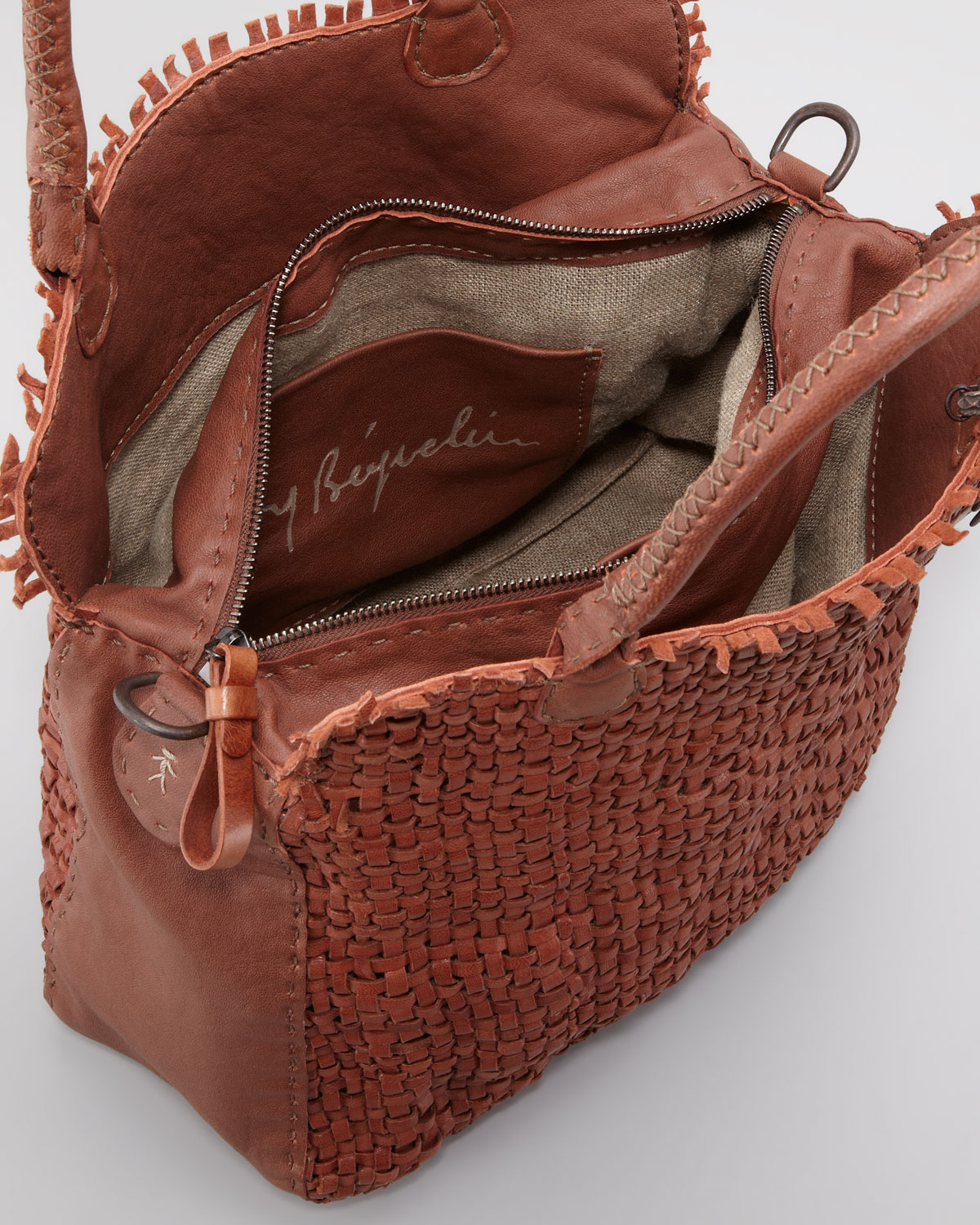 Lyst Henry Beguelin Woven Leather Tote Bag In Brown