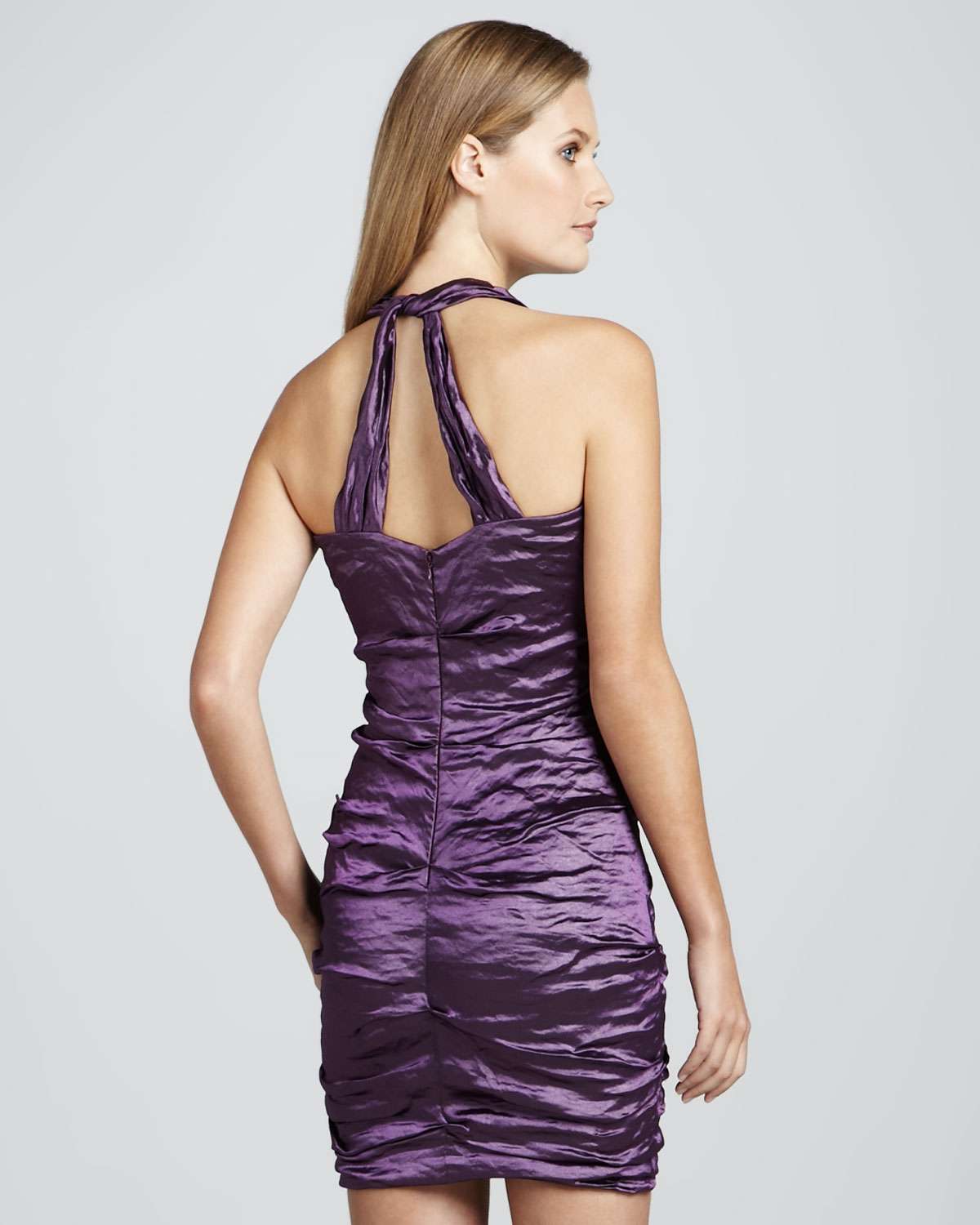 Nicole miller Halter Ruched Cocktail Dress in Purple | Lyst