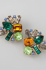Oscar de la Renta Crystal Cluster Clip Earrings - Lyst