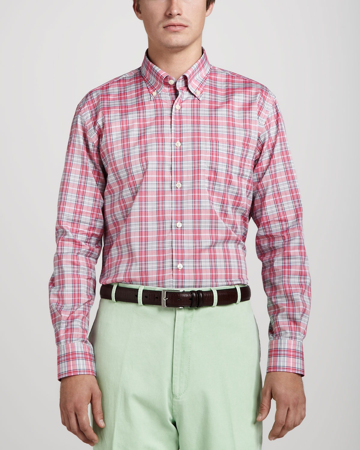 Peter millar Sienna Plaid Sport Shirt Retro Pink in Pink for Men ...