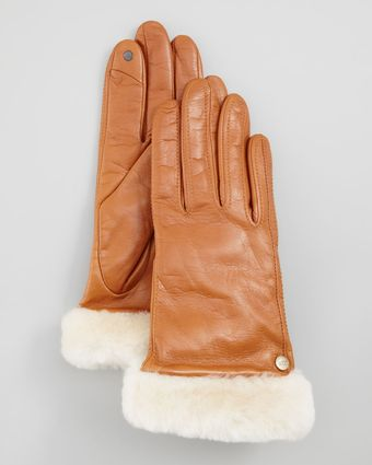 Ugg Classic Leather Smart Gloves - Lyst