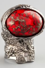 Saint Laurent Red Glass Arty Ring - Lyst