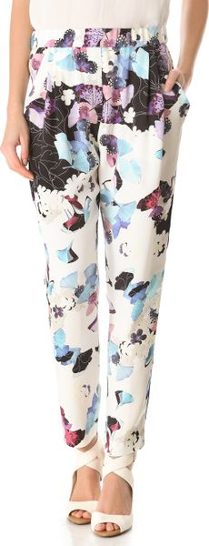 3.1 Phillip Lim Scrapbook Floral Draped Trousers in Multicolor (black) - Lyst