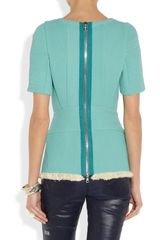 3.1 Phillip Lim Fringed Corded Chiffon Top in Blue (turquoise) - Lyst