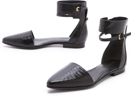 Alexander Wang Elsa Ankle Cuff Flats in Black - Lyst