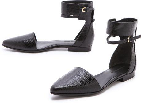 Alexander Wang Elsa Ankle Cuff Flats in Black - Lyst
