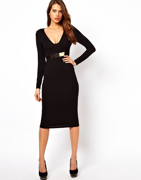 asos collection asos bodycon dress with gold belt in