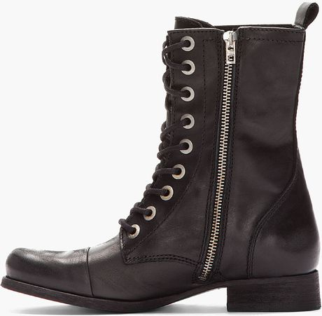 diesel black leather arthik combat boots in black lyst
