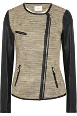 Iro Deven Leather Trimmed Metallic Tweed Jacket - Lyst