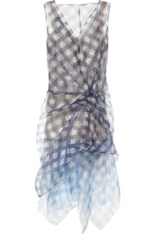 Marc Jacobs Draped Ginghamprint Organza Dress - Lyst