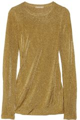 Michael Kors Draped Fine Knit Lamé Top - Lyst