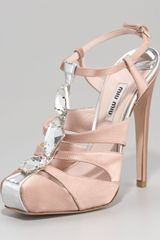 Miu Miu Bejeweled Tstrap Satin Sandals - Lyst