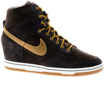 Nike Dunk Sky High Black Sheepskin Wedge Trainers - Lyst