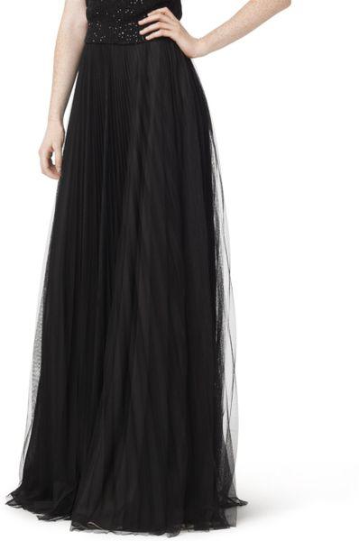 Oscar De La Renta Floor Length Plisse Skirt In Black Lyst