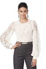 Oscar de la Renta Long Sleeve Lace Blouse - Lyst