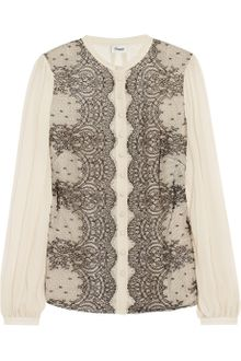 Temperley London Mia Lace and Silk Chiffon Blouse - Lyst