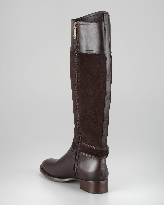 59b632da362c ... discount lyst tory burch tenley suede leather riding boot in brown  dda4c 313c6