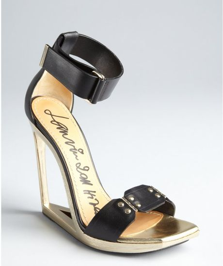 lanvin black and gold leather ankle mirrored cutout