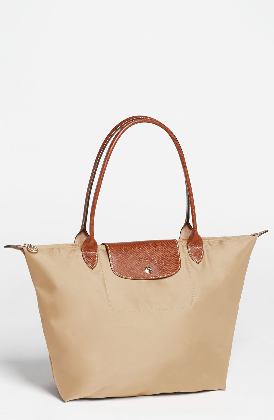 longchamp le pliage large tote in beige natural lyst. Black Bedroom Furniture Sets. Home Design Ideas