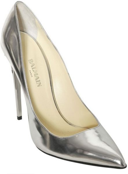 balmain 100mm silver patent leather pumps in silver lyst