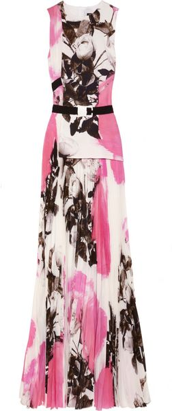 Christopher Kane Roseprint Pleated Silkchiffon Gown - Lyst