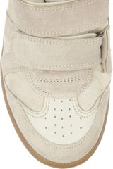 Isabel Marant Bekkett Suede and Leather Hightop Wedge Sneakers in White (taupe) - Lyst